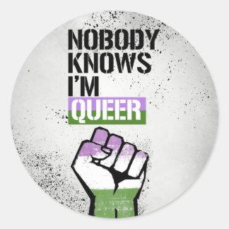 Pegatina Redonda Nadie sabe que tengo - - los razón raros de LGBTQ