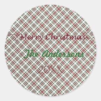 Pegatina Redonda Name&Year personalizado rojo y verde de la tela