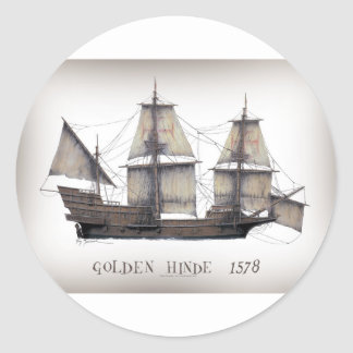 Pegatina Redonda Nave de oro de 1578 Hinde