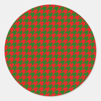 Pegatina Redonda Navidad clásico rojo y control verde de