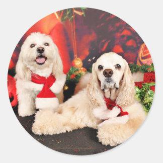 Pegatina Redonda Navidad - cocker - Toby, Havanese - poco T