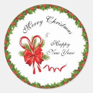 Pegatina Redonda Navidad de las bayas del acebo y bastones de