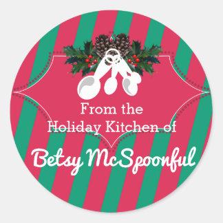 Pegatina Redonda Navidad de las cucharas dosificadoras de la cocina