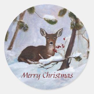 Pegatina Redonda Navidad de los ciervos de la baya del acebo