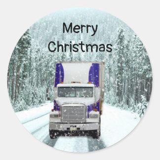 Pegatina Redonda Navidad del conductor de camión