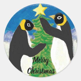 Pegatina Redonda Navidad del pingüino brillante, grande, hoja de 3