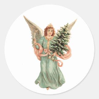 Pegatina Redonda Navidad del vintage, ángel del Victorian con el