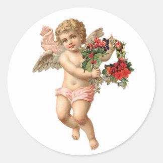 Pegatina Redonda Navidad del vintage, guirnalda floral del ángel w