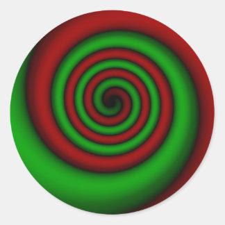 Pegatina Redonda Navidad espiral rojo y verde