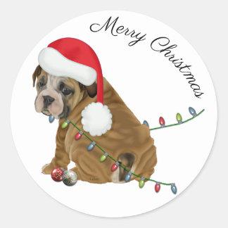 Pegatina Redonda Navidad inglés del perrito del dogo