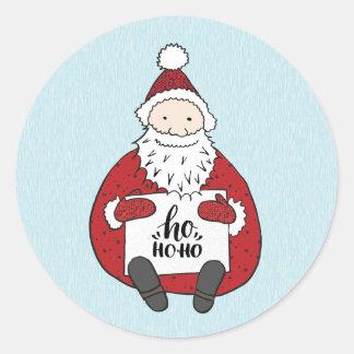 Pegatina Redonda Navidad lindo del dibujo de Santa