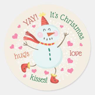 Pegatina Redonda Navidad lindo del muñeco de nieve que saluda