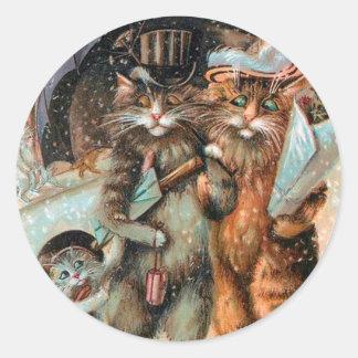 Pegatina Redonda Navidad pegatina, gatos del vintage de Louis Wain
