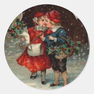 Pegatina Redonda Navidad pegatina, niños del vintage de Ellen