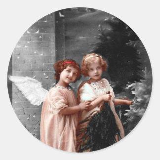 Pegatina Redonda Navidad pegatina, niños del vintage del ángel de