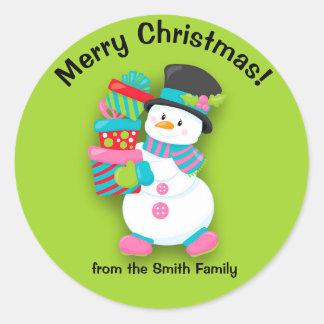 Pegatina Redonda Navidad personalizado muñeco de nieve y presentes