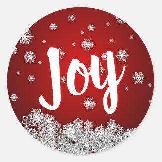 Pegatina Redonda Navidad ROJA del navidad del día de fiesta de la