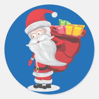 Pegatina Redonda navidad santa