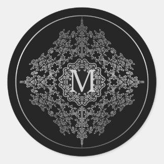 Pegatina Redonda Negro del monograma y pegatinas afiligranados de