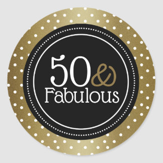 Pegatina Redonda Negro elegante y oro 50 y fabuloso