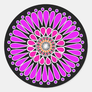 Pegatina Redonda Negro - mandala doble rosada del girasol