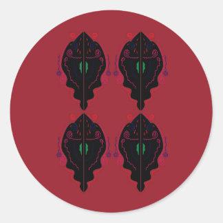 Pegatina Redonda Negro rojo de los ornamentos de lujo