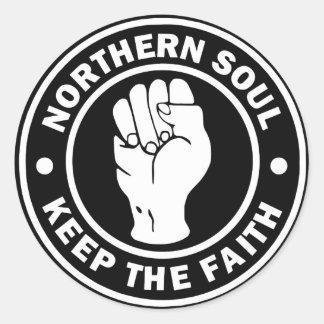 Pegatina Redonda negro septentrional del logotipo del alma