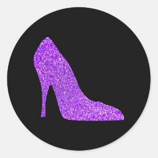 Pegatina Redonda Negro violeta femenino del tacón alto del brillo
