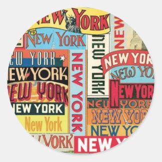 Pegatina Redonda New York New York