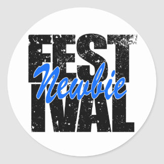 Pegatina Redonda Newbie del festival (negro)