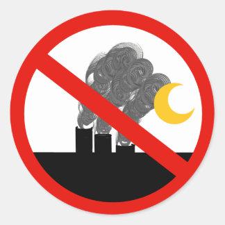 Pegatina Redonda Ningunas pilas de humo del carbono