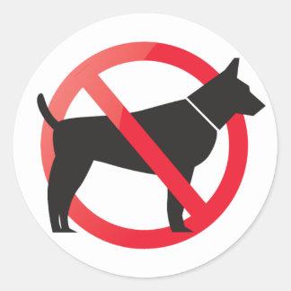 Pegatina Redonda Ningunos perros permitidos