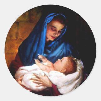 Pegatina Redonda Niño bendecido Jesús del Virgen María y del niño
