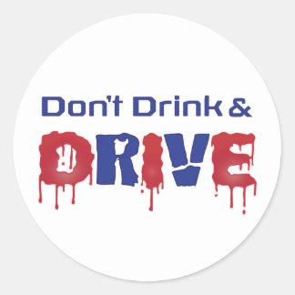 Pegatina Redonda No beba y no conduzca