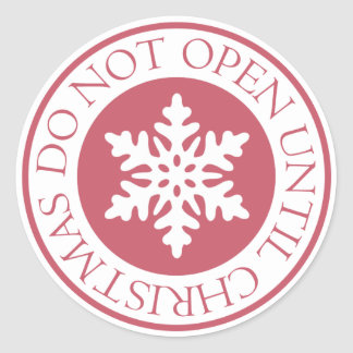 Pegatina Redonda No se abra hasta rojo del copo de nieve del