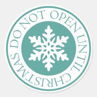 Pegatina Redonda No se abra hasta verde azul del copo de nieve del