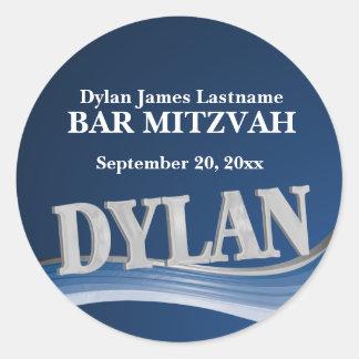 Pegatina Redonda Nombre Dylan del azul de acero