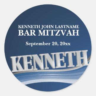 Pegatina Redonda Nombre Kenneth del azul de acero