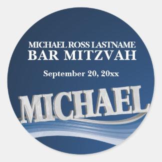Pegatina Redonda Nombre Michael del azul de acero