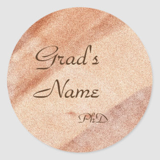 Pegatina Redonda Nombre+Pegatina de la graduación de la plantilla