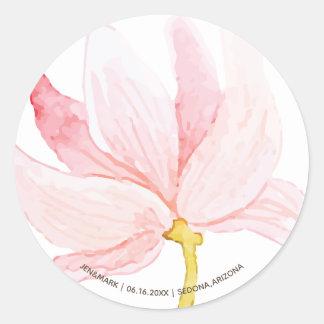 Pegatina Redonda Nombres. Flores del rosa de la primavera de la