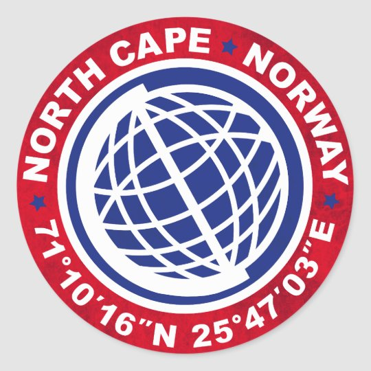 PEGATINA REDONDA NORTH CAPE SPECIAL NORWAY