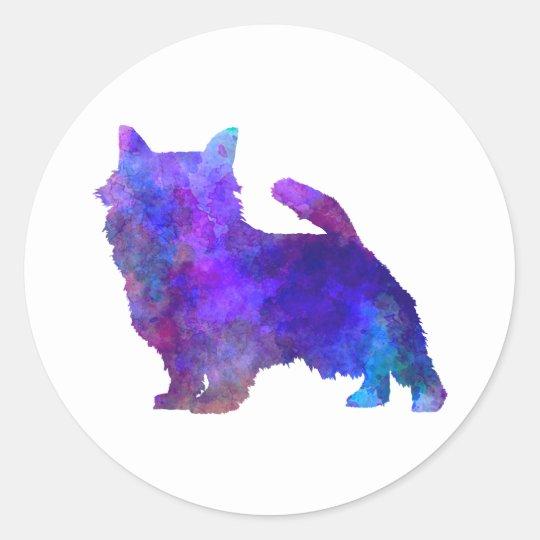 Pegatina Redonda Norwich Terrier in watercolor