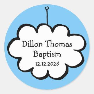 Pegatina Redonda Nube en un favor del bautizo del bautismo de la