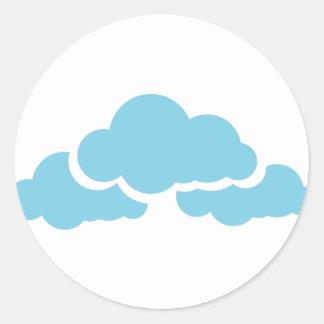 Pegatina Redonda Nubes azules