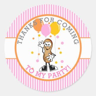 Pegatina Redonda Nuestra fiesta de cumpleaños del cacahuete de Lil