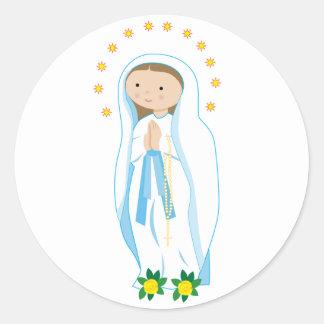 Pegatina Redonda Nuestra señora de Lourdes