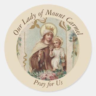 Pegatina Redonda Nuestra señora del bebé Jesús del monte Carmelo