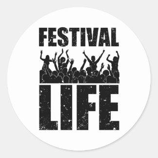 Pegatina Redonda Nueva VIDA del FESTIVAL (negro)