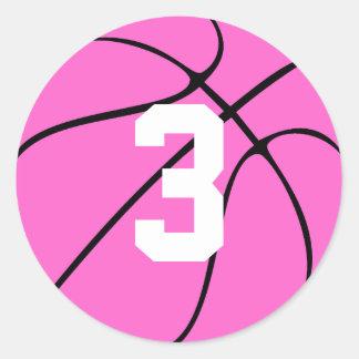 Pegatina Redonda Número o inicial rosado del jersey del jugador de